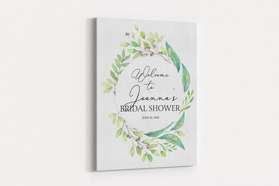 Canvas Bridal Shower Welcome Board, Printed Personalized Botanical ...