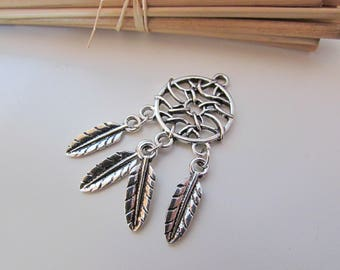 2 Breloque pendentif attrape rêve avec des feuilles en métal argenté antique - 4.8 x 2 cm - trou 2.5mm - ref 121.22