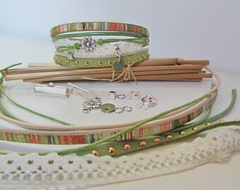 Bracelet connector olive green sequin push - 18 clasp Kit