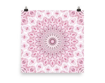 Home Decor Minimalist Mandala Art in Pink and Gray, Wall Art Poster Prints