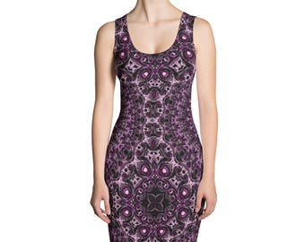 Bodycon Dress, Stretchy Sleeveless Dress, Purple and Pink Patterned Dress
