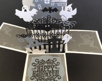 Halloween pop up box card - happy halloween haunted mansion with scarry gate pop up card - 3D halloween card in a box ghosts, bats, spiders