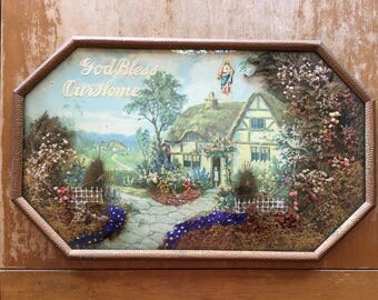 Vintage 3D Wall Art, God Bless Our Home, Dried Flowers, Cottage Print, Religious Decor, Shabby Style