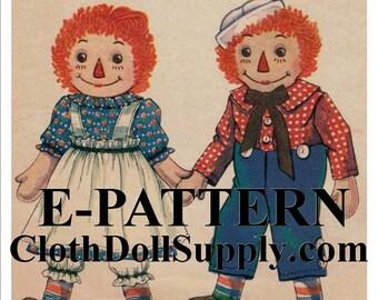 E-Pattern – Raggedy Ann & Andy Doll Sewing Pattern #EP 820