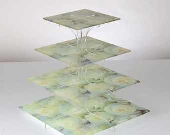 Flat Packable 4 Tier White Rose Print Cake Stand