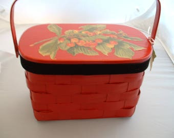 Vintage Red Basket Purse with Cherries.