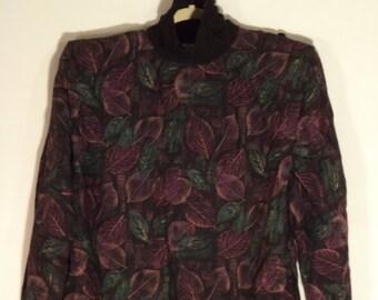 80s structured tunic dress// Turtleneck shoulder pads leaves wool mini// Vintage designer Julay// Women's size large L 12 14