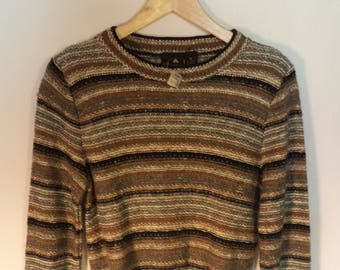 New 80s Liz Claiborne sweater// Blue tan black striped knit pullover// Vintage dead stock w tags NWT