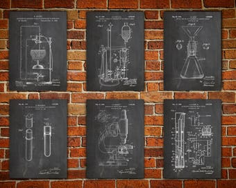 Science Art Posters, Patent canvas prints Chemistry Art Print, Chemistry Poster, Chemistry Decor, Chemistry Wall Decor, Art Set of 6