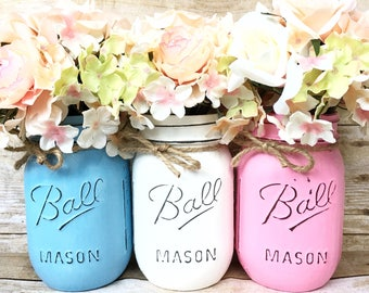 Set of 3 Hand Painted and Distressed Mason Jars, Babyshower Decor, Centerpieces, Gender Reveal Centerpieces, Wedding Decor, Rustic!