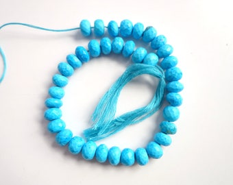 Turquoise Faceted Rondelles - turquoise rondelle beads
