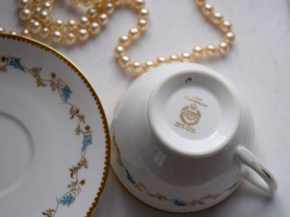 "Minton Porcelain ""Champagne"" Tea Cup & Saucer set, wedding gift, elegant, sophisticated, birthday gift,"