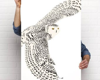 Art print of a digital graphic design of the snowy owl in flight, white owl in flight, wild bird of northern Quebec, Canada, snow owl