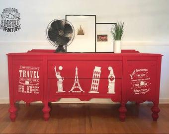 Antique buffet / sideboard / server / media center / credenza (eclectic whimsical modern vintage travel original artwork in chalk paint)