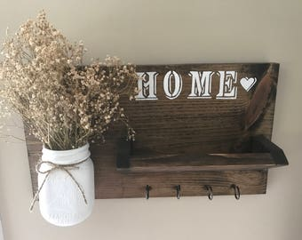 Rustic Key and Mail Holder, Home Sign Decor, Mother's Day Gift, House Gift, Mason Jar Wall Decor