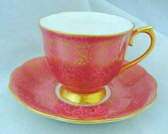 Royal Albert art deco daisy gold gilt chintz pastel pink Tea cup and saucer