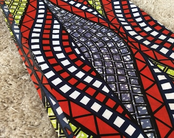 Ankara Fabric, African Fabric, Fabric  by the yard, Designer Fabric, Red, orange, white, dark blue