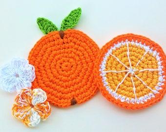 4 apliques en ganchillo NARANJA y Flores -4 handmade Crochet appliques ORANGES and Flowers -appliques au crochet-4 Crochet appliques