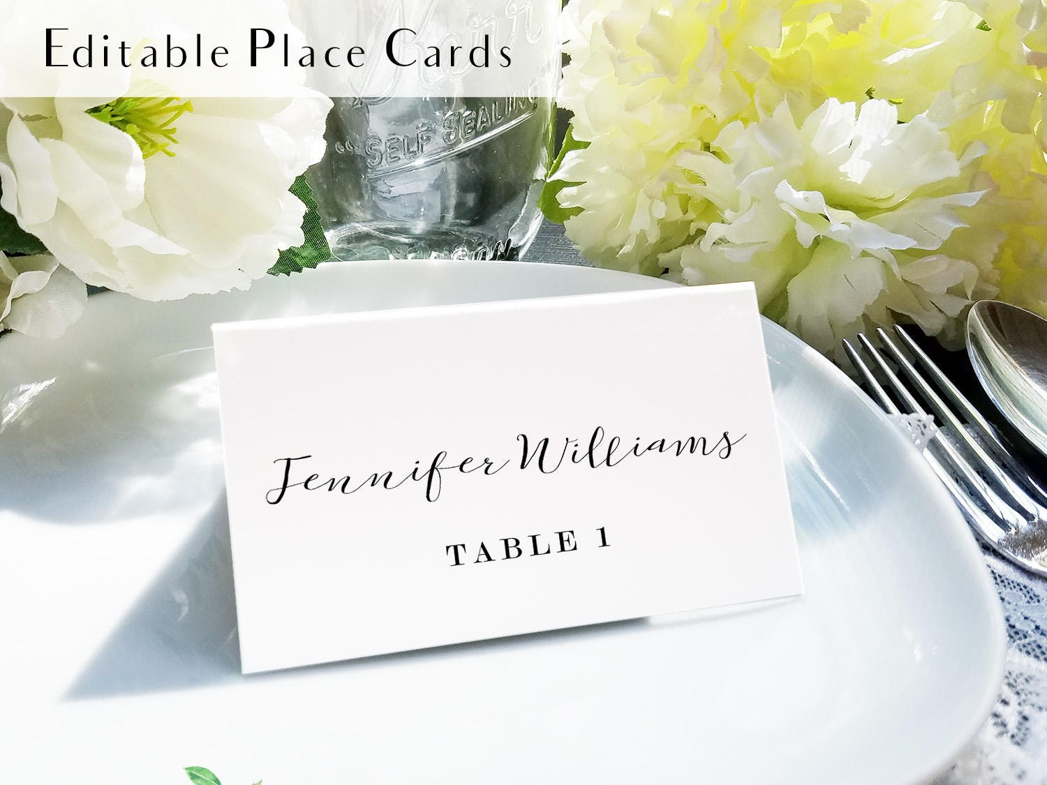 Calligraphy place setting card, printable escort card, name and ...