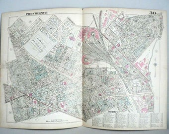 Antique Providence Rhode Island Plat Map of 1926 by G M Hopkins