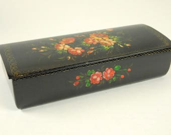 Russian Lacquered Wood Trinket Box Hand Painted Red Pink Flowers Roses Lidded 8 by 3 by 1 Inch Size Home Office Decor