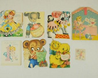 Lot of 8 Used Vintage 1940s and 1950s Birthday Childrens Kids Animals Toys Greeting Cards Ephemera Crafting Framing Decor Nursery Classroom
