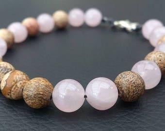 rose quartz and jasper beaded bracelet