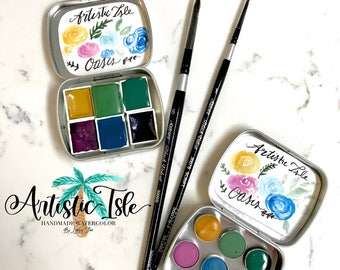 Oasis Watercolor Set, watercolor, Desert, succulent, cactus, handmade paint, artist paint, brush lettering, watercolor paint