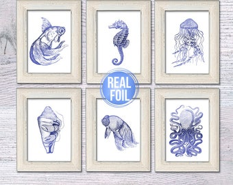 Captivating Nautical Set Of 6 Ocean Home Decor, Bathroom Wall Print Set, Vintage Animal  Illustration