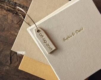 Guest book  - linen - alternative guest book - personalized with letterpress-  wedding - Gästebuch