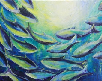 Schooling fish. Modern expressive art. Original. Acrylic on canvas. Yellow, green, blue, violet, white, emerald
