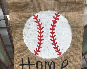 Baseball burlap garden flag