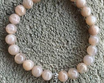Bracelet énergétisé Bien être en Pierre de soleil véritable, pierre de lune grise pendentif argent