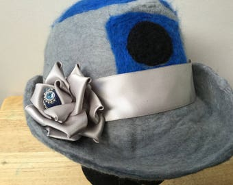 Elegeek droid inspired wet felted merino bowler hat with ribbon flower R2D2 mashup cosplay smoke and pet free