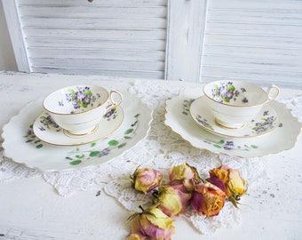 Vintage Sammeltassen covers porcelain candle holder old cup violet violet
