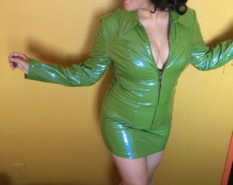 90's groovy olive green 2 piece pvc set