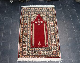 Turkish Handmade Soft Wool Decorative Rug, FREE SHIPPING 2.1 x 3.2 Vintage Rug, Turkish Oushak Rug, Anatolian Handmade Rug ,No 982