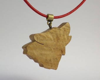 Wolf in oak and red leather pendant