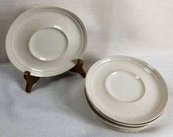 Snow White by Mikasa, Stoneware 6 Inch Saucers, Discontinued Pattern, White with Brown Flecks, Price Per Saucer