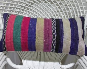 striped kilim pillow,vintage turkish kilim  pillow,lumbar cushion cover 12x24 decorative kilim pillow lumbar pillow 12x24 lumbar pillow 997