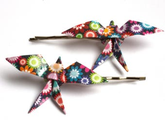Swallow Origami Hair Clips - Floral Pattern - 2pcs
