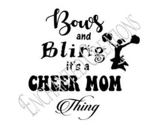 SVG/EPS/DXF/png file - Bows and Bling, Cheer Mom Thing