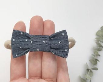 Bow fabric headband - baby girl and boy - white dots dark jeans