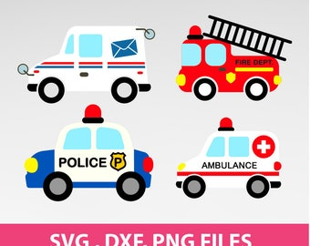 "Instant Download, Mail Truck,Postal Truck, Post Office, Police Car SVG, DXF, PNG Formats,  8.5x11"" sheet,  Printable 0160"