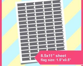 "Half Box Flag Planner Sticker Template,  Planner Sticker, Skinny Flags,  PSD, SVG, PNG Formats,  8.5x11"" sheet,  Printable 178"