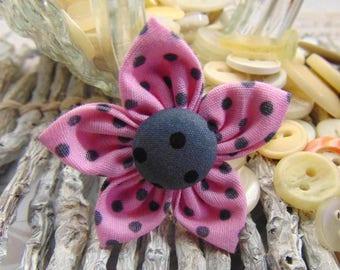 fabric flower pink polka dot grey 4.5 cm made hand ref1