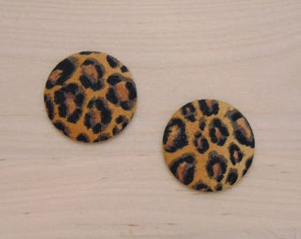 2 cabochons x 28mm fabric ref 50 has leopard fabric