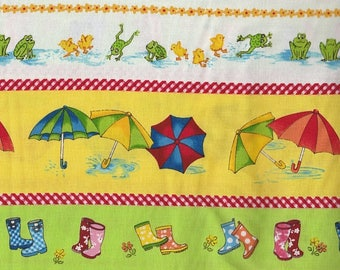SALE! Puddle Jumpers - Per Yd -Red Rooster - Cute Border Stripe for Childs Quilt