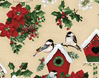Home for the Holidays - Per Yd - Clothworks by Sue Zipkin - Birds, Houses and Holly