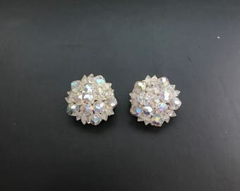 Vintage Clear Crystal Beaded Clip On Earrings